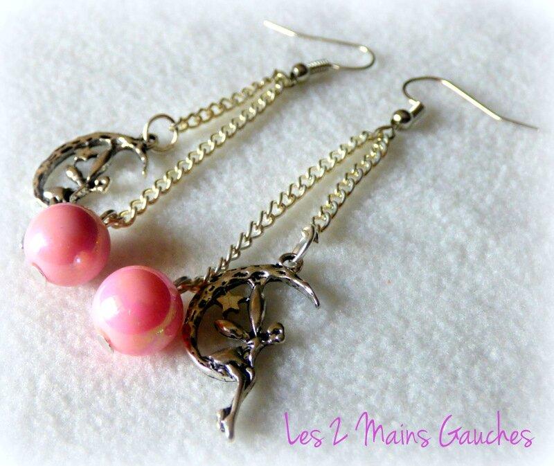 BO avec perle rose et breloque fée
