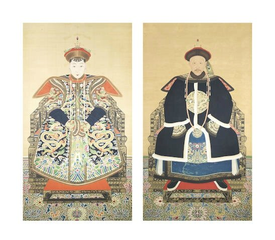 A pair of rare and large portraits of a nobleman and a royal lady, Late Qing Dynasty