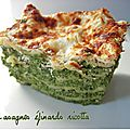 Lasagnes pinards ricotta (version rapide)