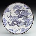 Small dish decorated with two dragons. 