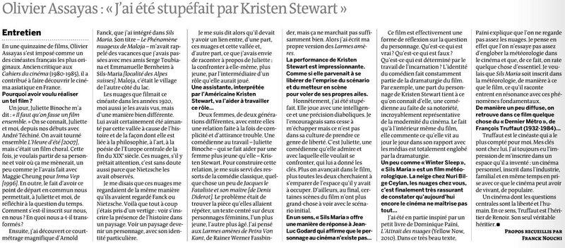 Interviex Olivier Assayas Le Monde 22 août 2014
