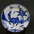 Important 17th century kangxi period (1662-1722) blue and white chilong dragon plate