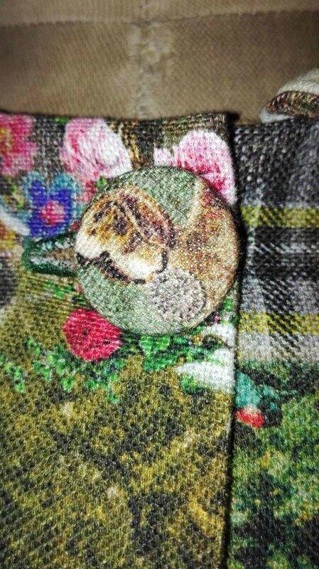Veste VICTORINE en toile de coton imprimée montagne du tyrol - Doublure de satin noir (3)
