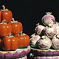 A magnificent and extremely rare pair of large famille-rose stands and trompe l'oeil persimmons and pomegranates, qianlong perio