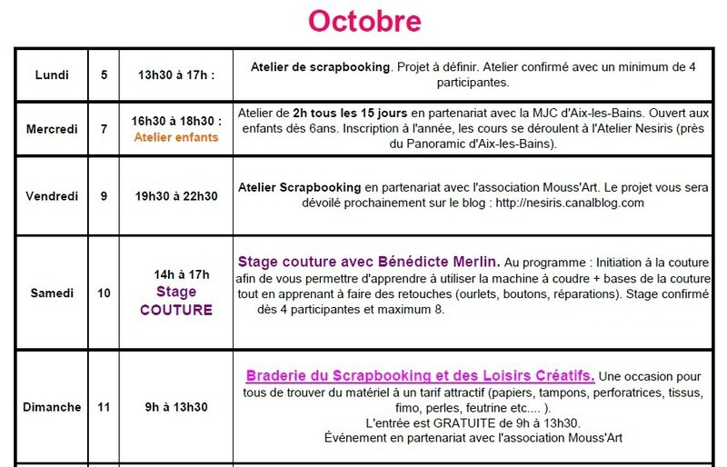 Planning des ateliers Oct 2015 - katia nesiris démonstratrice Stampin'up1