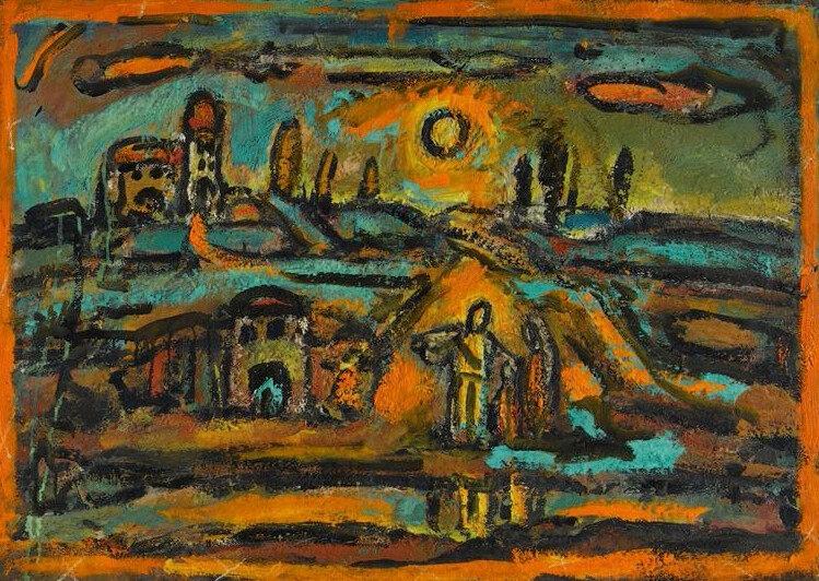 1949 - Route, peupliers, soleil couchant