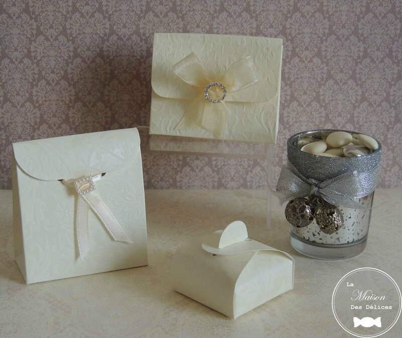 bote drages mariage dentelle - Contenant Drage Mariage