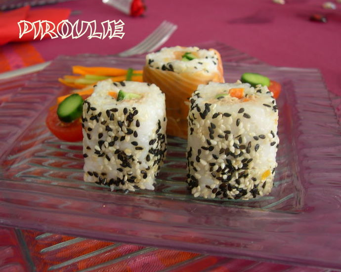 Makis california rolls thon mayonnaise saumon omelette for Entree crudite originale