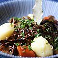 Porcini boeuf Bourguignon and steamed potatoes