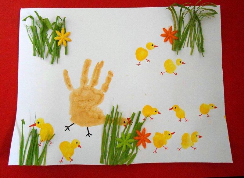 empreintes-activite-manuelle-peinture-bebe-enfants-mains-poule-poussins-facile-paques-tableau-carte (1)