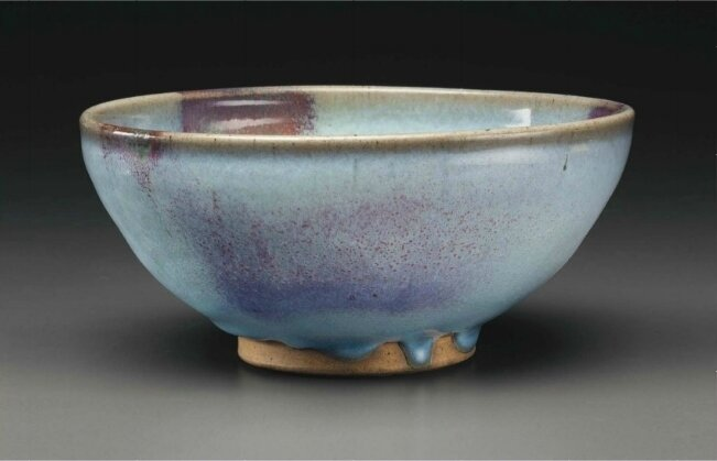 A large copper-red splashed Junyao bowl, Yuan dynasty (1279-1368)