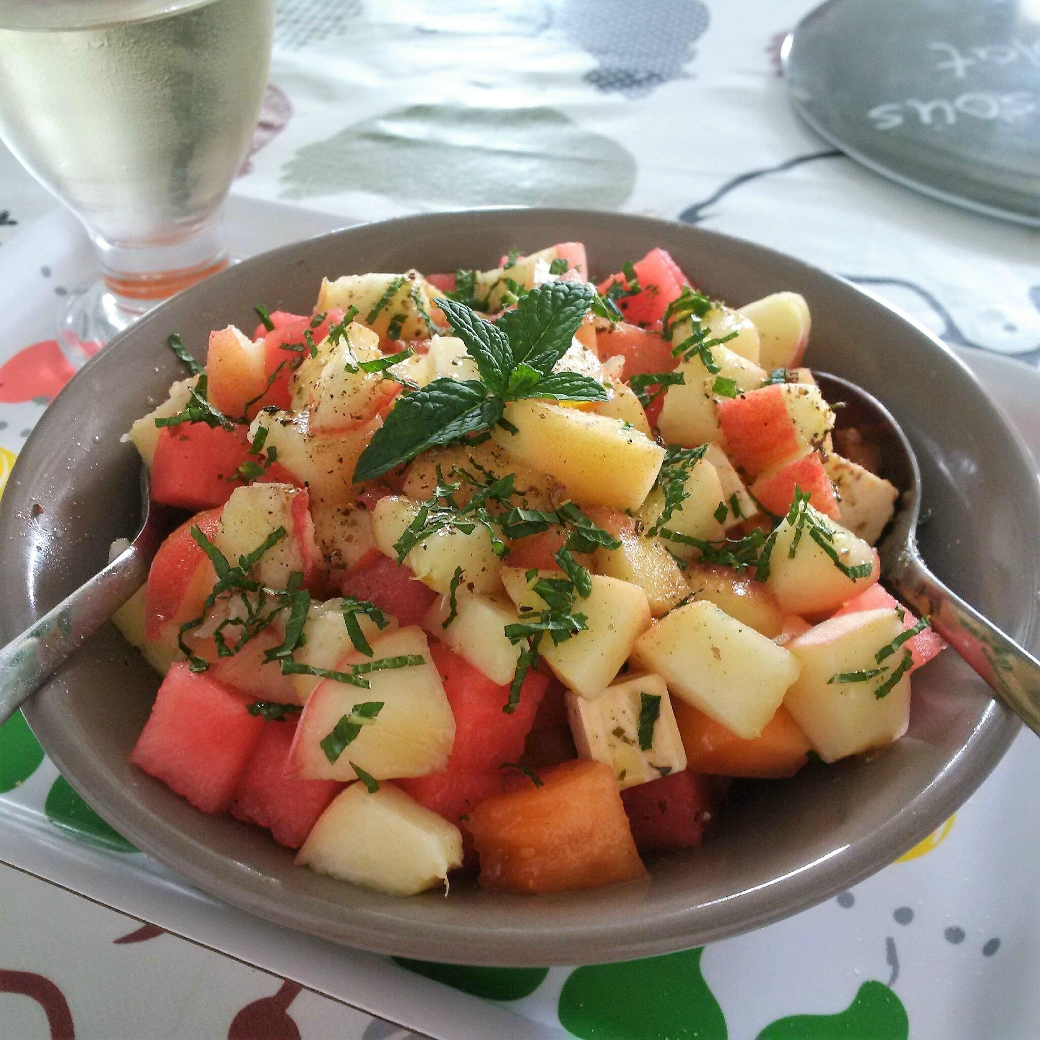 Salade Pastèque, Melon, Pêche Blanche, Feta et Menthe