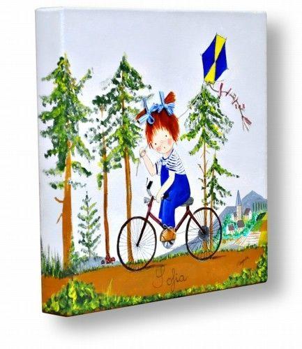 Kdekids cuadro infantil personalizado ni a en bicicleta decoraci n infantil cuadros - Cuadros artesanales infantiles ...