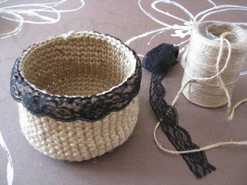 panier en corde au crochet