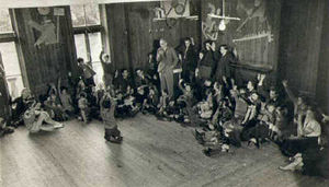 School_meeting_1930_BW