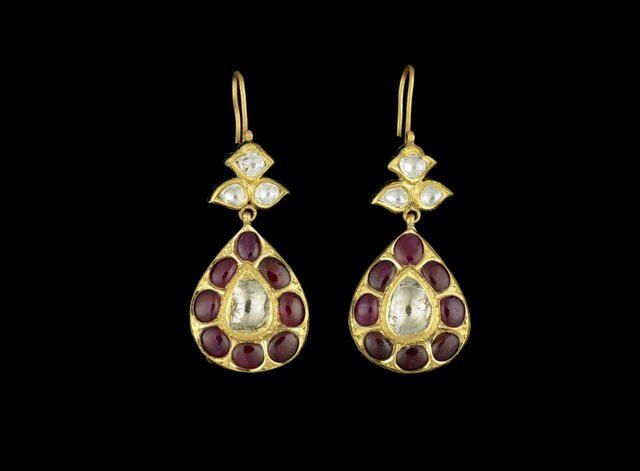 A pair of Indian diamond and ruby-set Earrings