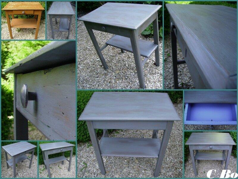 table vert de gris face- montage