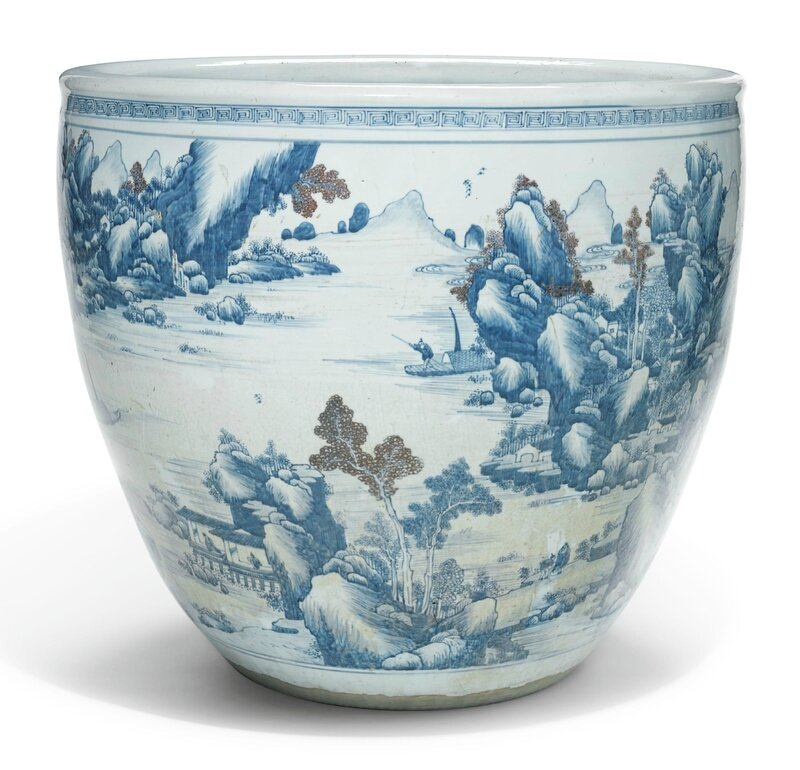 A copper-red and underglaze-blue 'Landscape' jardinière, Qing dynasty, 18th century
