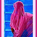 L'Hindoue en sari - Huile 24 x 33 - 8 août 2008