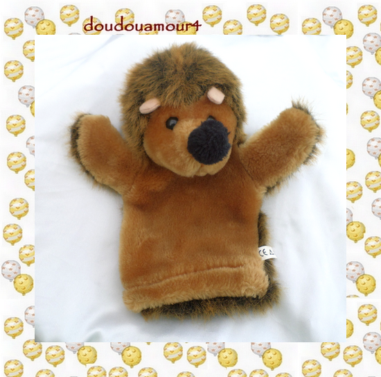 Doudou Peluche Marionnette Hérisson Marron CP International
