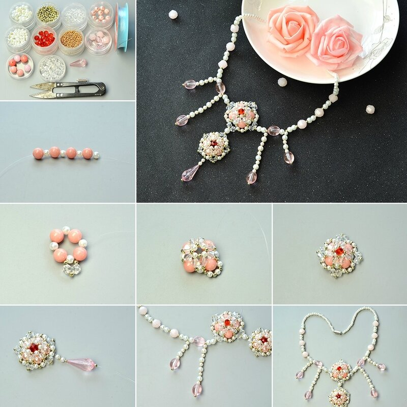 How-to-Design-Mixed-Beads-Stitch-Flower-Pendant-Necklace