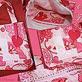 Sac fillette coton rose avec coeur feutrine