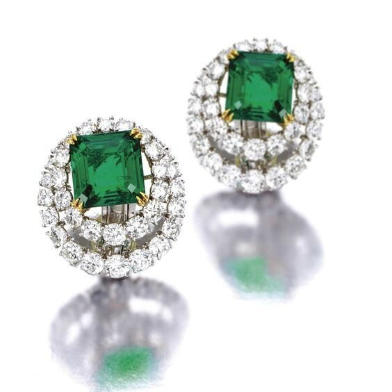 Pair of emerald and diamond earclips, Van Cleef & Arpels, New York, 1971