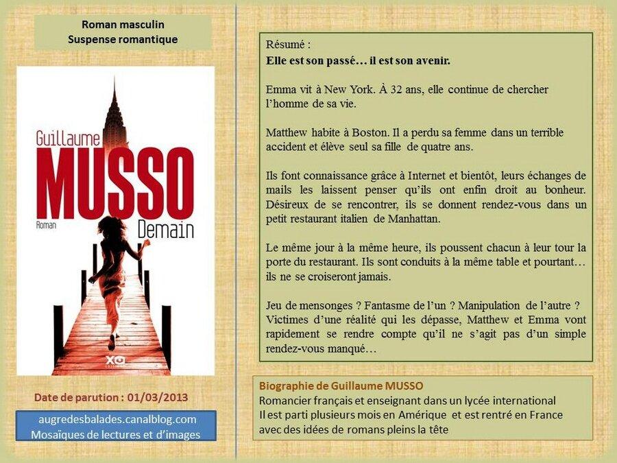 Guillaume Musso Demain Mosaiques De Lectures Et D Images