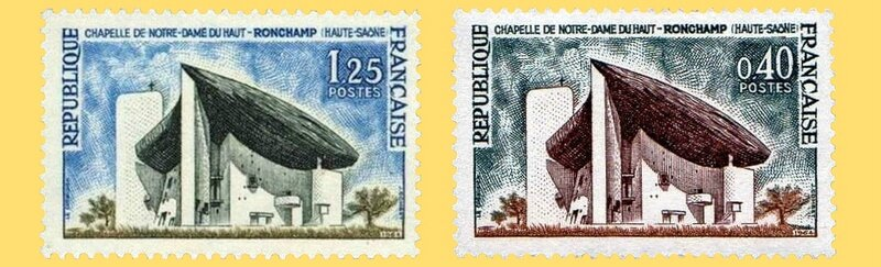 Timbres France Ronchamp 1963 & 1964