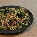Wok de legumes verts et jambon / green veg and ham stir-fry