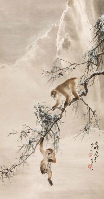 Gao Qifeng, Neige dans la gorge Wu, 1916, Encre et couleurs sur papier, 177 x 91,5 cm