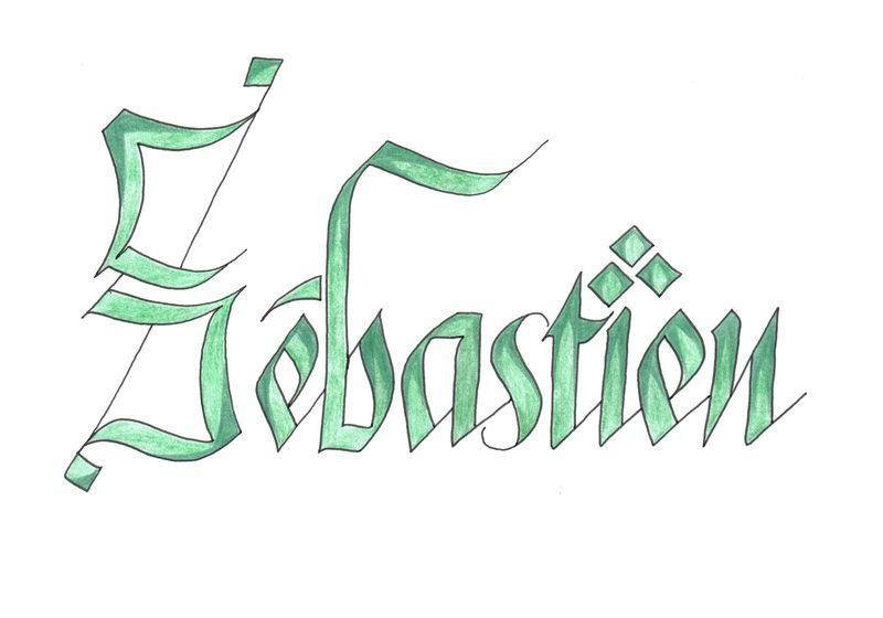 Pr nom xxxxxvi s bastien l 39 association emily calligraphy - Prenom en tag ...