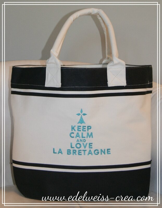 Sac de plage marine - Keep Calm and love la Bretagne