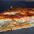 Tarte au saumon , poireaux , carottes