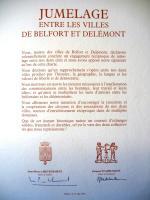 Jumelage Belfort Delemont 1985 Charte 03b