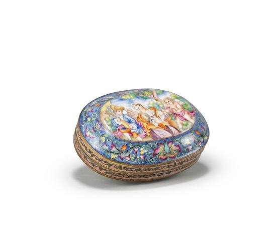 A rare Imperial-tribute painted enamel 'European subject' oval snuff box and cover Red-enamelled Qianlong four-character mark an