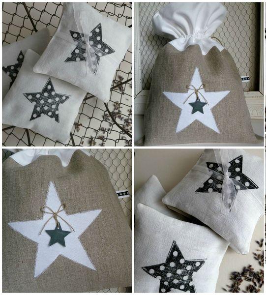 pochon en lin étoile
