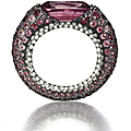 Jar, 1989. ring of colored sapphires and diamonds