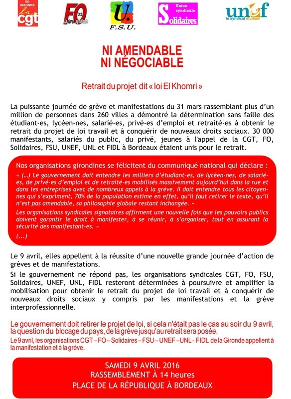 tract intersyndicale Gironde pour le 9 avril