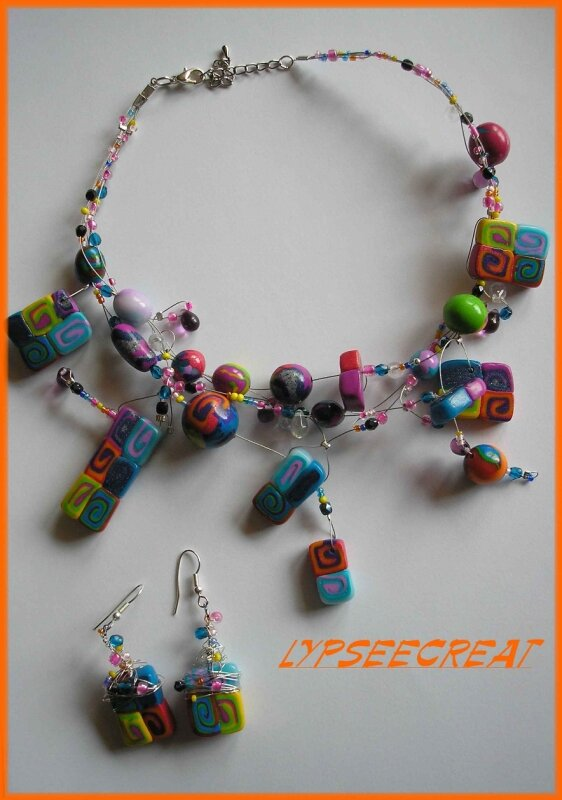 collier-fimo-perles-mélangefildefer-multicolore