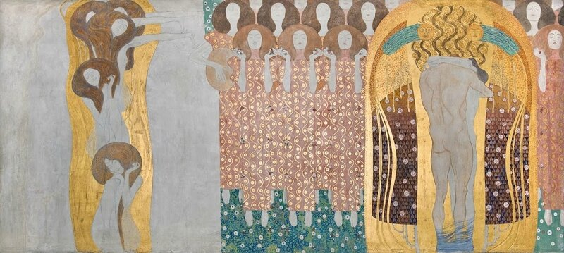 Klimt_Beethoven Frieze_The Arts, Chorus of Paradise, Embrace