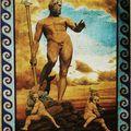 3- Acrylique sur toile libre, Poseidon, vieillie et patinée, 165 x 115