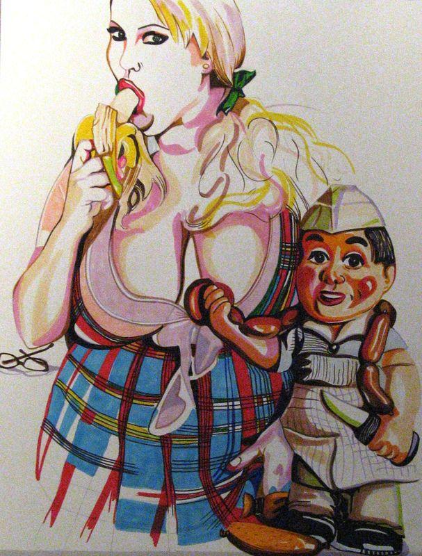 Andouillette AAAAA, 2009, dessin aux feutres et marqueurs sur papier, 65x50 cm Nadia Benbouta courtesy School Gallery
