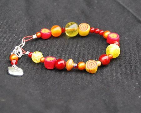 bracelet_perles_et_fimo_orange_rouge_et_jaune