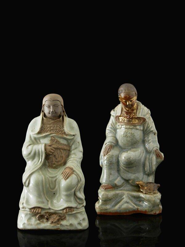 Two Longquan celadon figures of Zhenwu, China, 15th - 16th century