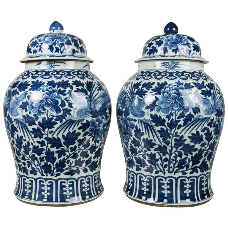 A Monumental Pair of Blue and White Jars Decorated with Phoenix and Peonies, Jiaqing period (1796-1820)