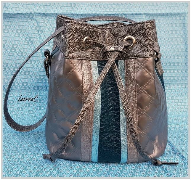 SAC SEAU SIMILI BRONZE BLEU PETROLE