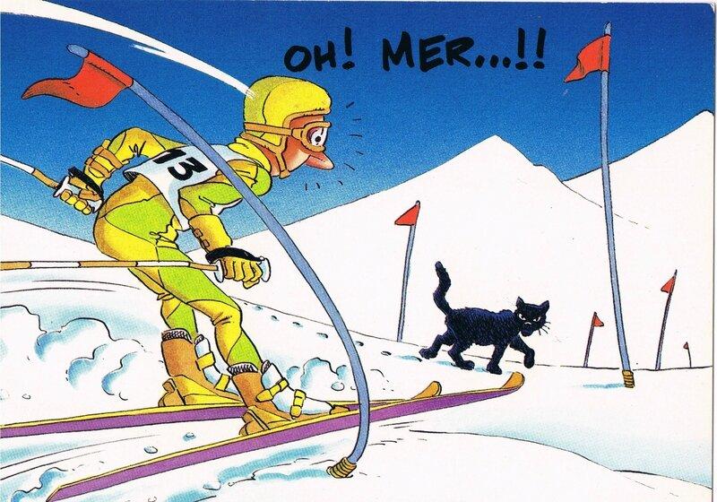 skieur surpris