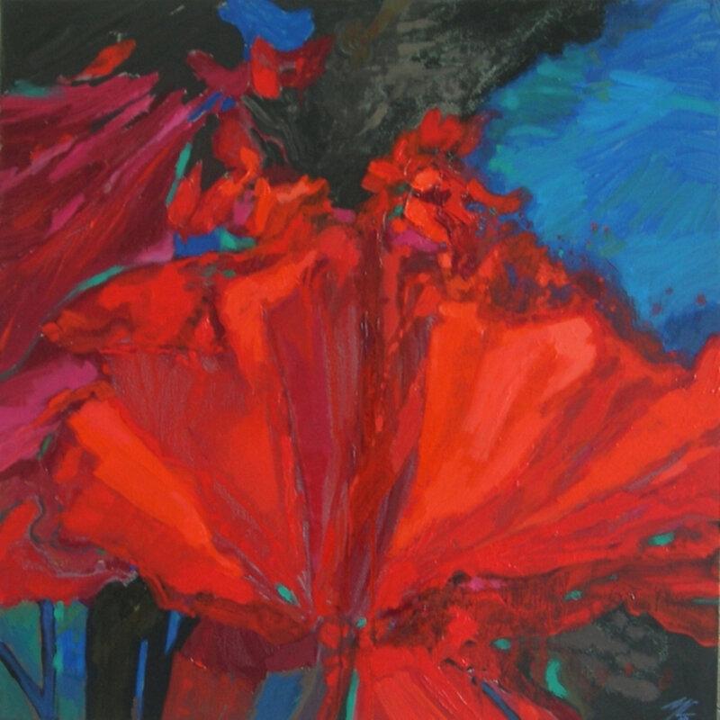2009-Série les Floralies, Rouge,huile,50x50cm