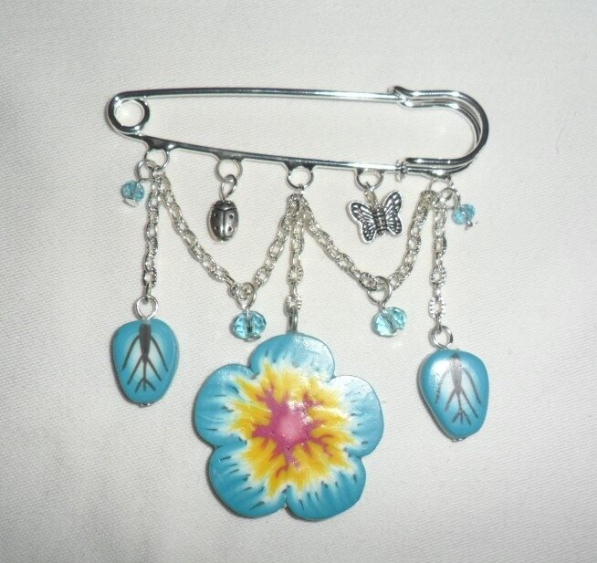 turquoise broche fleur 1-3